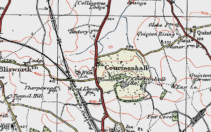 Old map of Courteenhall in 1919