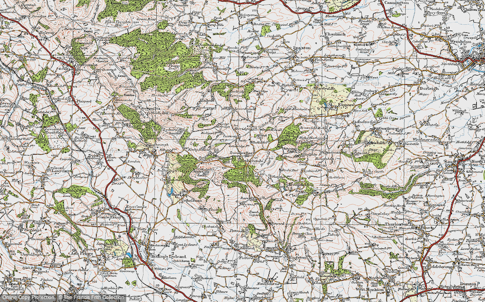 Old Map of Historic Map covering Timbercombe in 1919