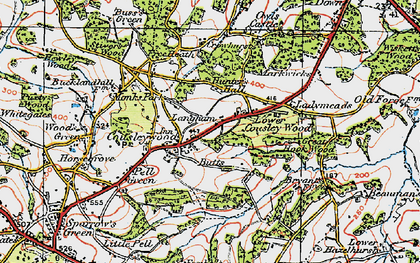 Old map of Cousley Wood in 1920