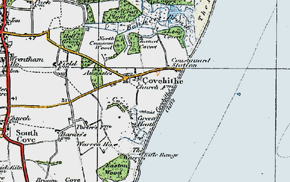 Old map of Covehithe in 1921