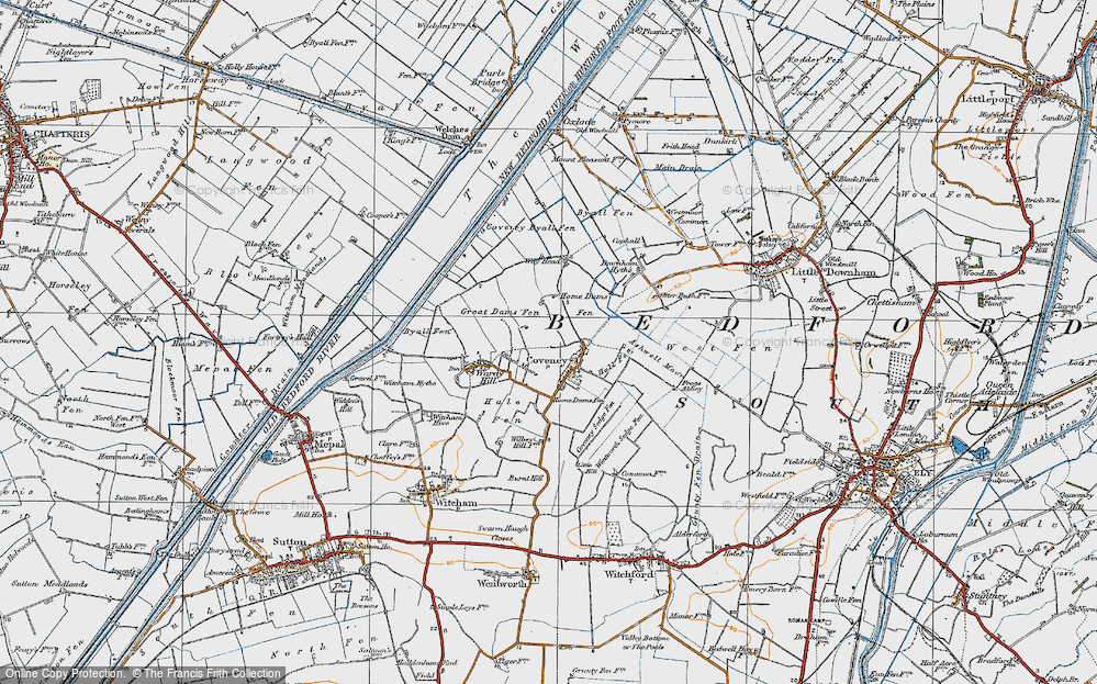 Old Map of Historic Map covering Ashwell Moor in 1920