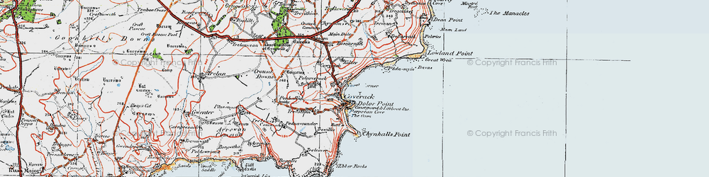 Old map of Coverack in 1919