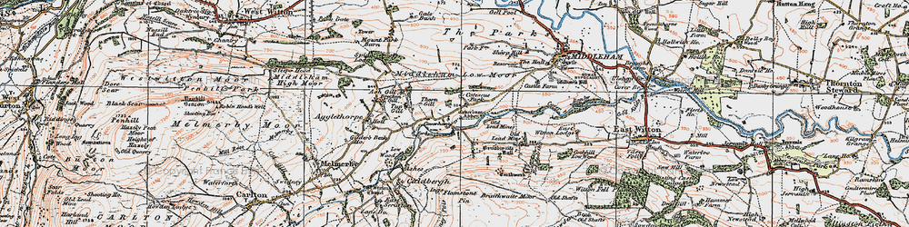 Old map of Coverham in 1925