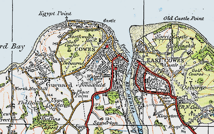 Old map of Cowes in 1919