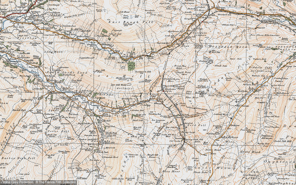 Old Map of Historic Map covering Aye Gill Wold in 1925
