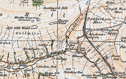 Old map of Wry Gill in 1925