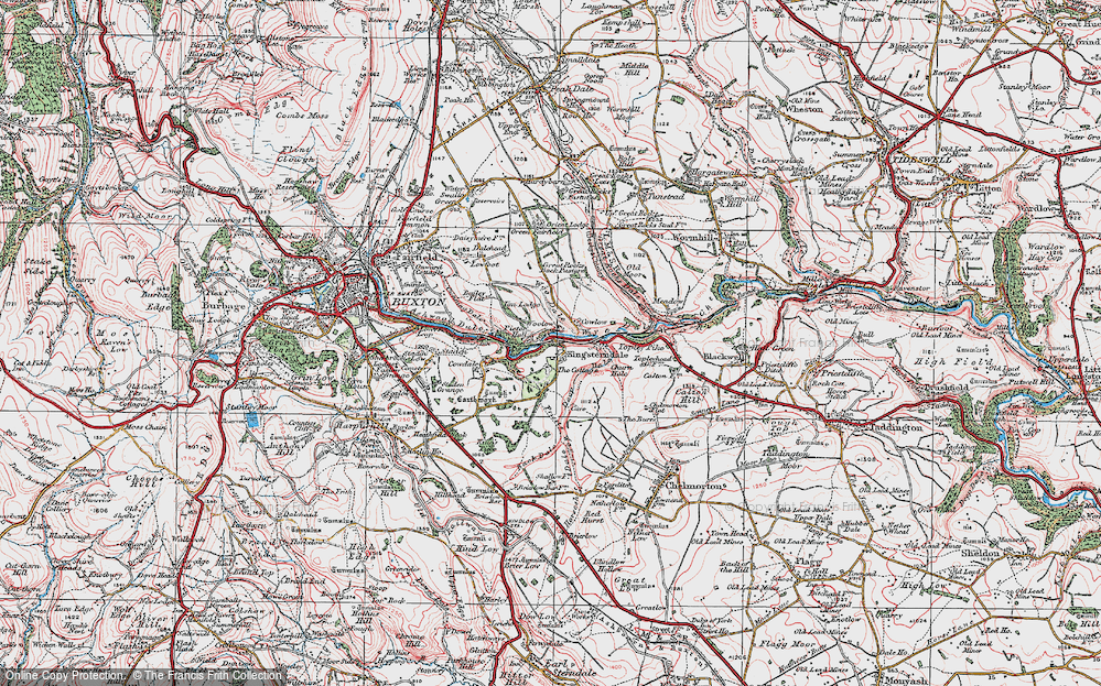 Old Map of Historic Map covering Back Dale in 1923