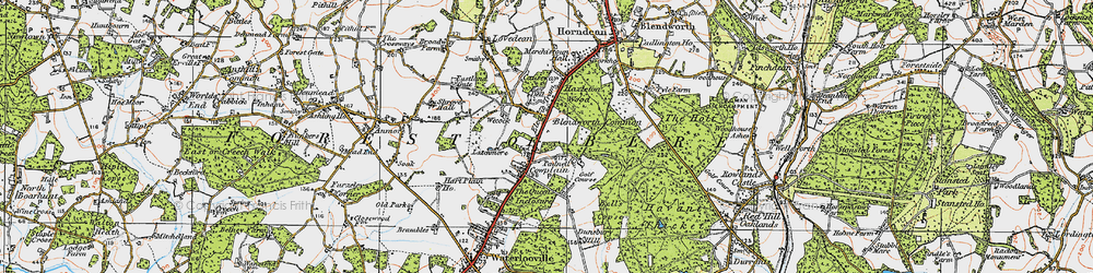 Old map of Cowplain in 1919