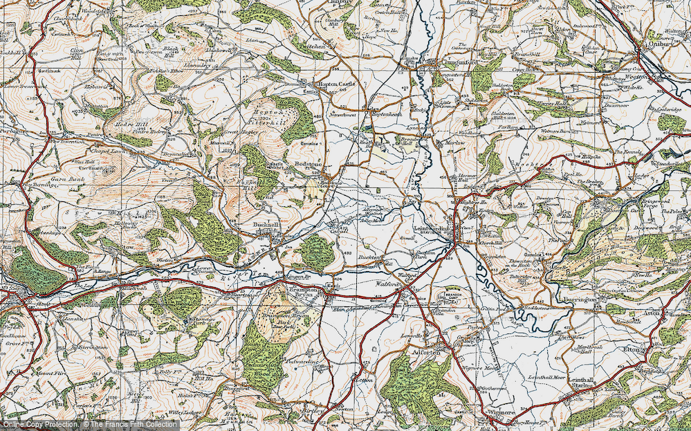 Old Map of Historic Map covering Adley Moor in 1920