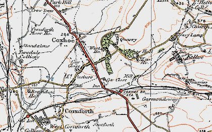Old map of Coxhoe in 1925