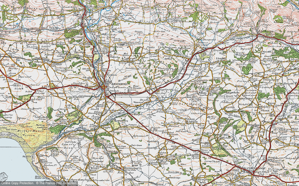 Old Map of Coychurch, 1922 in 1922