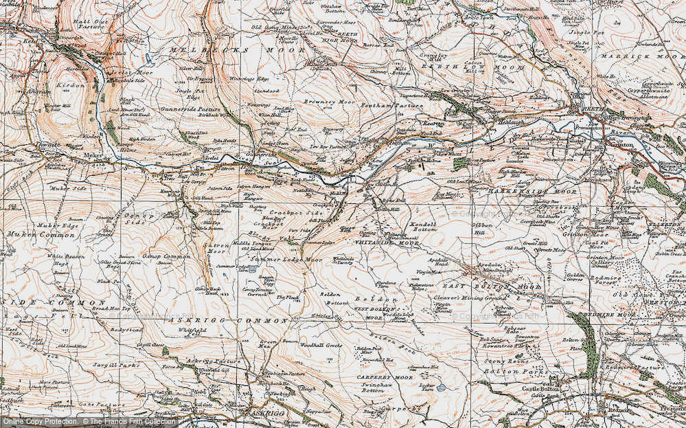 Old Map of Historic Map covering Aberdene Tarn in 1925
