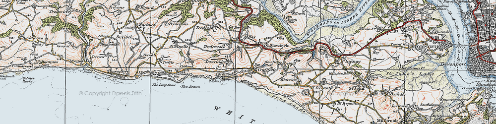 Old map of Crafthole in 1919