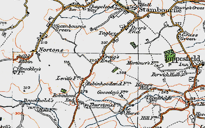 Old map of Le Hurst in 1921