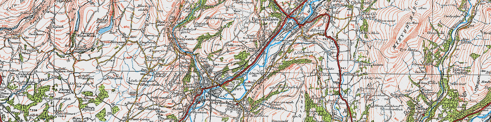 Old map of Ynys-y-mond in 1923