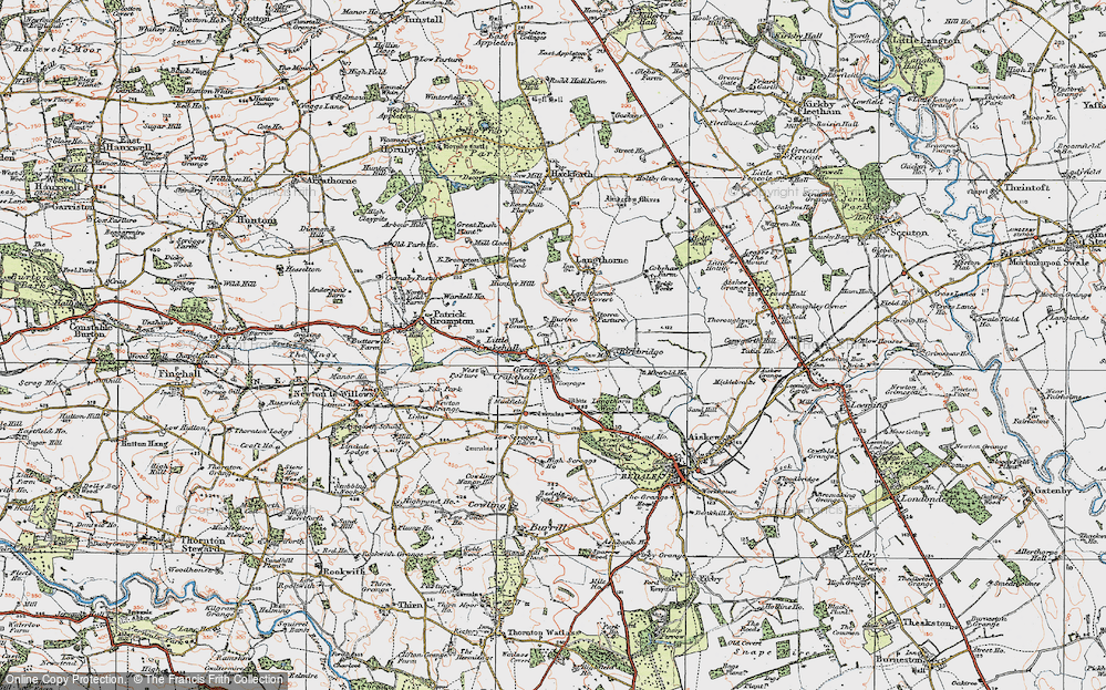 Old Map of Crakehall, 1925 in 1925