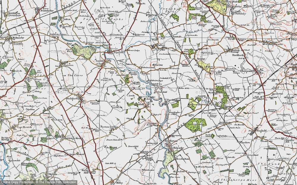 Old Map of Historic Map covering Leckby Grange in 1925