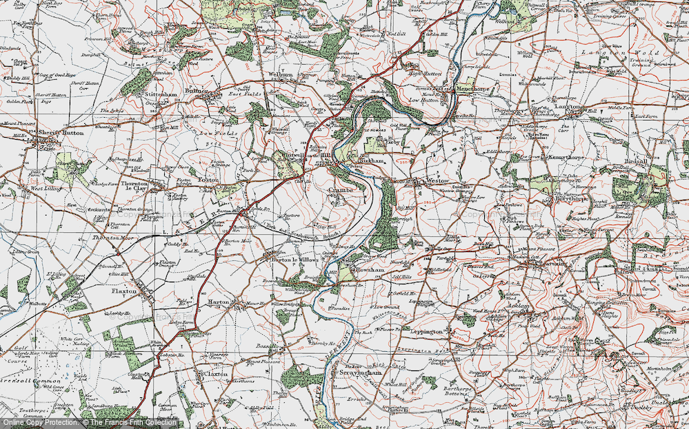 Old Map of Crambe, 1924 in 1924