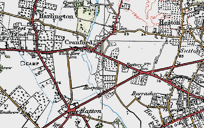 Old map of Cranford in 1920