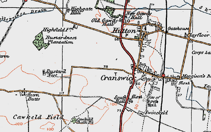 Old map of Cranswick in 1924