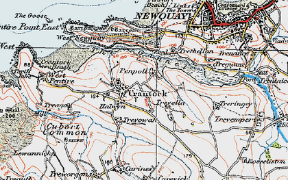 Old map of Crantock in 1919