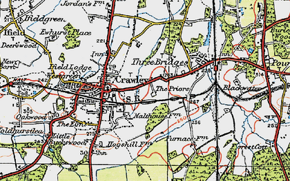 Old map of Crawley in 1920