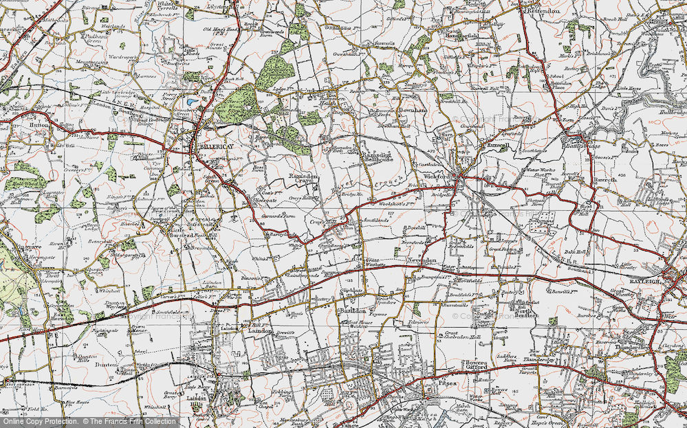 Old Map of Crays Hill, 1921 in 1921
