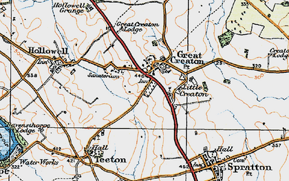 Old map of Creaton in 1919