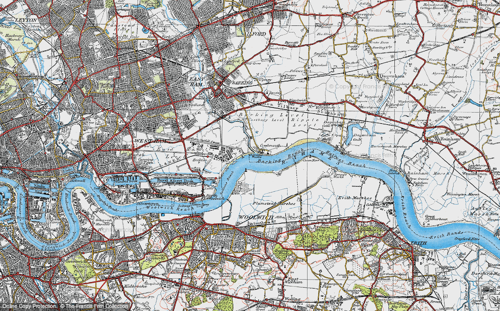 Old Map of Historic Map covering Barking Creek in 1920