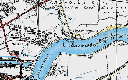 Old map of Barking Creek in 1920