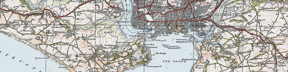 Old map of Cremyll in 1919