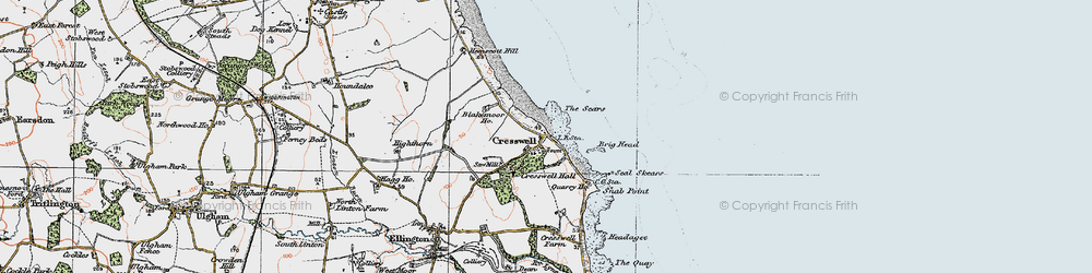 Old map of Cresswell in 1925