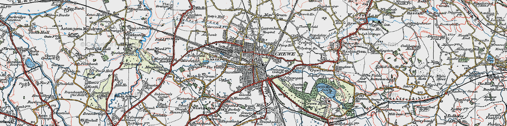 Old map of Crewe in 1923