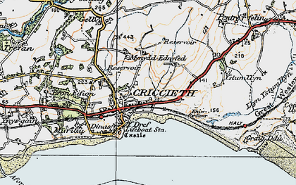 Old map of Criccieth in 1922