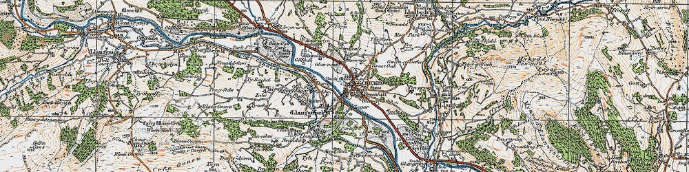 Old map of Crickhowell in 1919