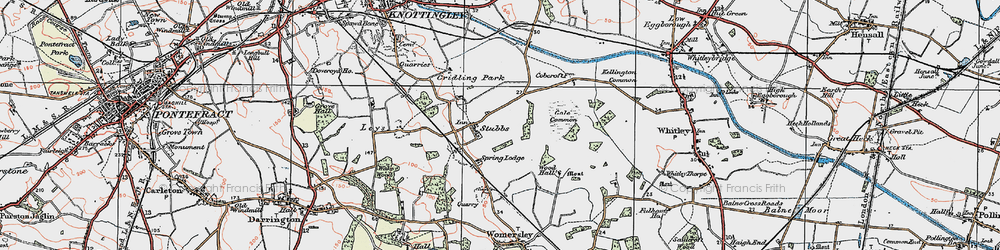 Old map of Aire and Calder Navigation (Knottingley and Goole Canal) in 1924