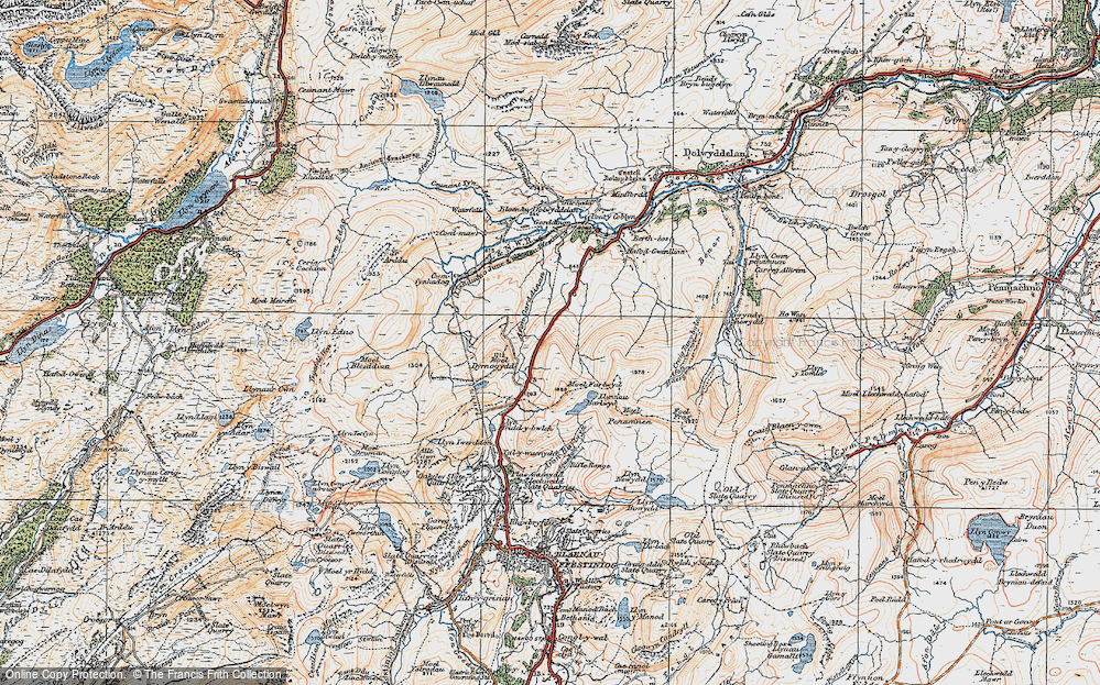 Old Map of Historic Map covering Afon Gorddinan in 1922