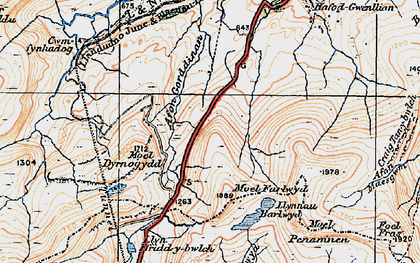 Old map of Afon Gorddinan in 1922