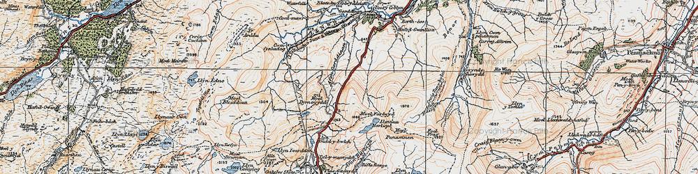 Old map of Afon Gorddinan in 1922