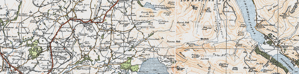 Old map of Whiteoak Moss in 1925