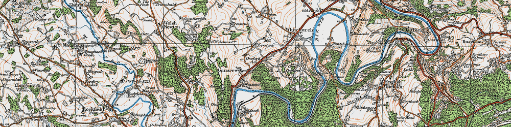 Old map of Wyastone Leys in 1919
