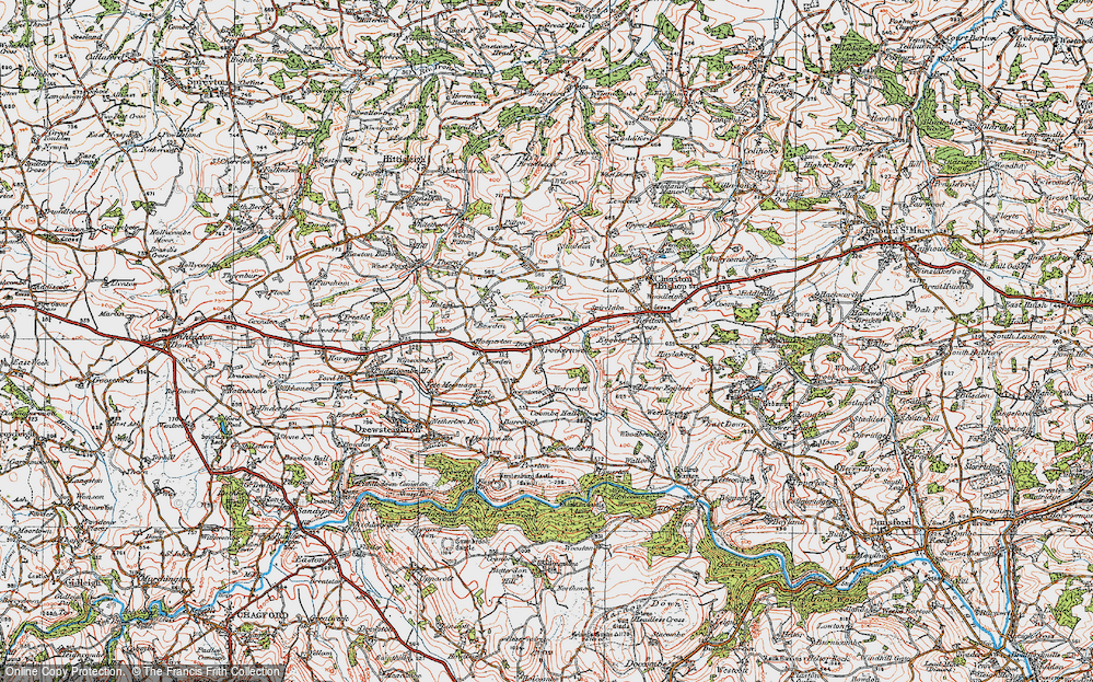 Old Map of Crockernwell, 1919 in 1919