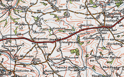 Old map of Crockernwell in 1919