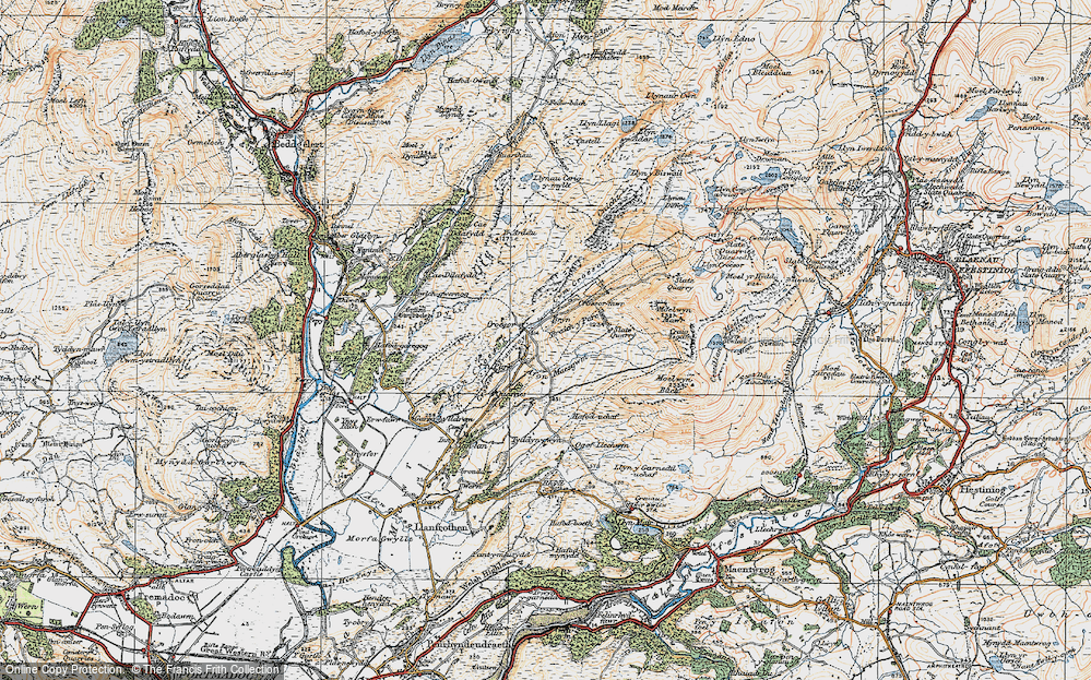 Old Map of Historic Map covering Afon Maesgwm in 1922