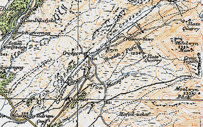Old map of Afon Dylif in 1922