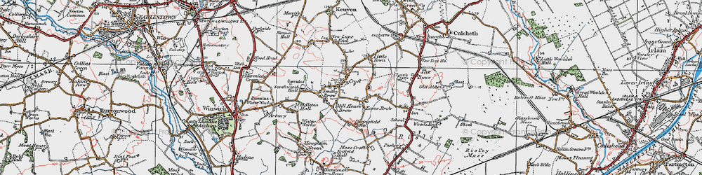 Old map of Croft in 1923
