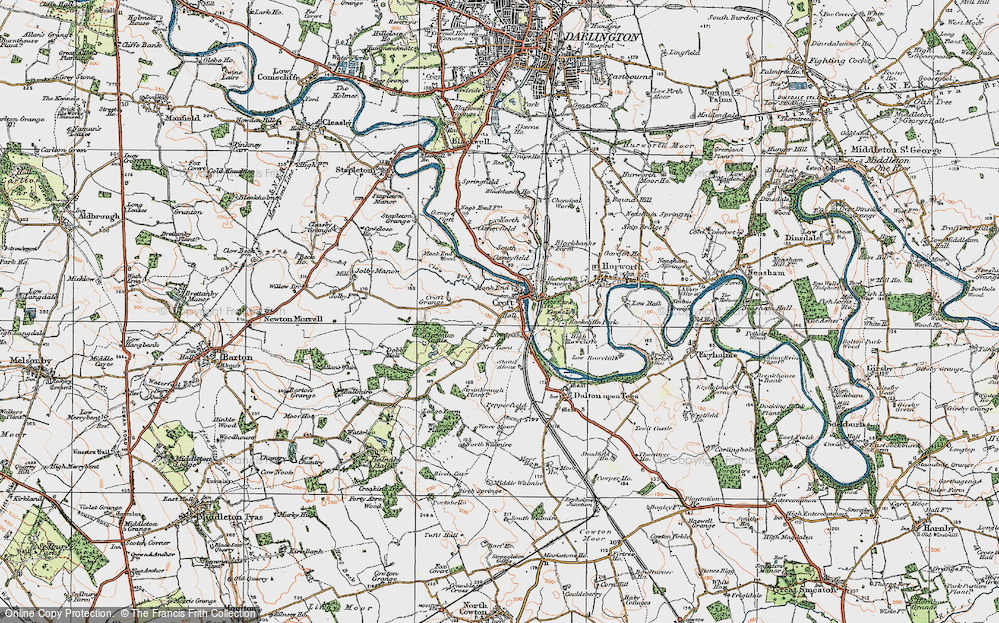 Old Map of Croft-on-Tees, 1925 in 1925