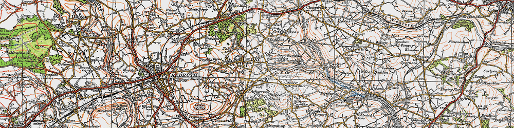 Old map of Tolgullow in 1919