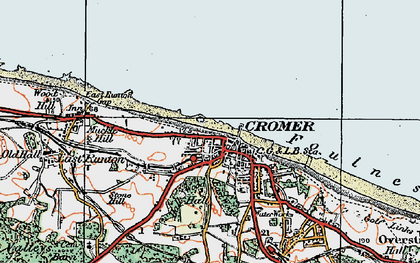 Old map of Cromer in 1922