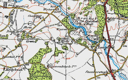 Old map of Cromer-Hyde in 1920